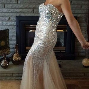 Dresses & Skirts - NUDE MERMAID BEDAZZLED PROM DRESS